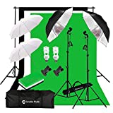 CanadianStudio Photo Studio Continuous Umbrella Lighting kit Black/White/Green High Key Muslin Backdrop Stand light Kit for Portrait Photography,Studio and Video Shooting