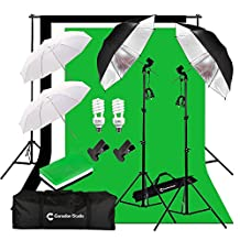 CanadianStudio CanadianStudio Photo Studio Continuous Umbrella Lighting kit Black/White/Green High Key Muslin Backdrop Stand light Kit for Portrait Photography,Studio and Video Shooting