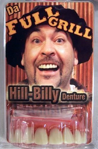 Full Grill Teeth (Full Grill Denture with Fake Tabacco Stains Billy Bob Teeth)