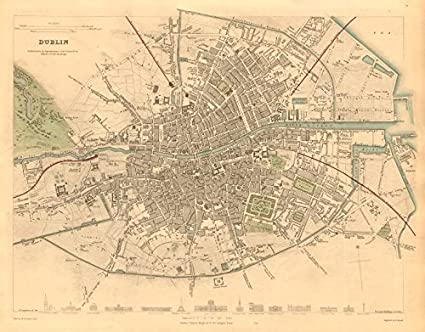 City Map Of Dublin Ireland.Dublin Antique Town City Map Plan Key Buildings Profiles Sduk