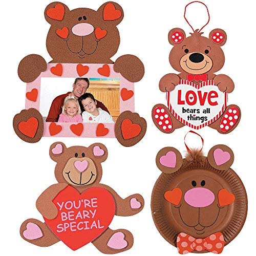 Valentine's Day Bears Craft Kit | Picture Frame, Love Sign, Paper Plate Kit & Beary Kit | Kids DIY Classroom Exchange DayCare Home School Art Project Gift Decoration | 4 -