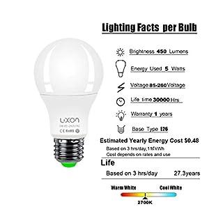 Motion Sensor Light Bulb 5W A19 Radar Motion Detector Light Dusk to Dawn 50W Equivalent Smart Led Bulbs Lamp Lighting Indoor Outdoor Motion Sensor Bulb Auto On/Off E26 Base Soft White 2700K by LUXON