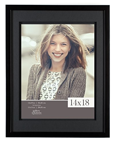 (Gallery Solutions 14x18 Wood Wall Frame with Double Black Mat for 11x14 Image)