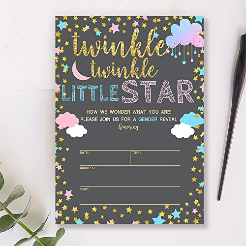 Mocsicka Twinkle Star Gender Reveal Invitations Boy or Girl Cloud Gender Reveal Party Invite, 20 Fill in Invitations and Envelopes]()