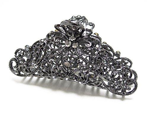 (Black Austrian Crystal Hematite tone metal Bow hair claws clips pins H1379)