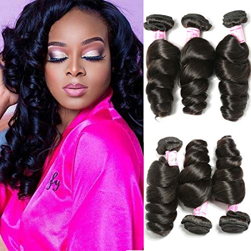 Beauty Forever Hair Brazilian Virgin Hair Loose Wave Weft 3bundles 100% Unprocessed Human Virgin Remy Hair Extensions Natural Color 95-100g/pc (22 24 26)