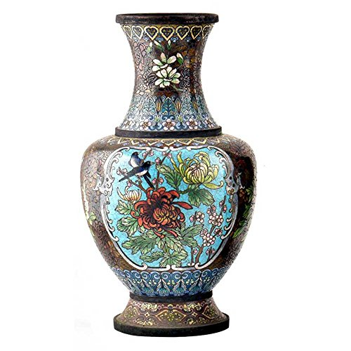 Indian Shelf Handmade Vintage Cloisonne Black Vase with Bird and Flowers (AMP-111A) ()