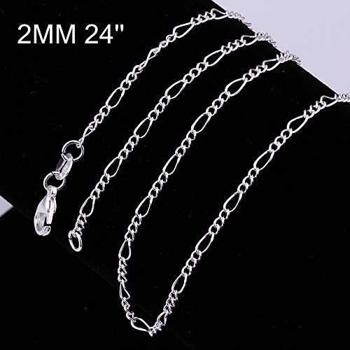 Kuyiuif 925 Sterling Silver 2MM Figaro Chain Italian Necklace for Men & Women Lobster Claw Clasp (24 Inch)