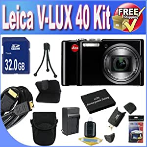 Leica V-Lux 40 14.1 Megapixel Compact Digital Camera with 20x Optical Zoom, 24-480 mm Leica DC Vario-Elmar Lens, 3 inch Touch Screen + Extended Life Battery + External Rapid Travel Quick-Charger + 32GB SDHC Class 10 Memory Card + USB Card Reader + Memory Card Wallet + Deluxe Case w/Strap + Mini HDMI to HDMI Cable + Accessory Saver Bundle!