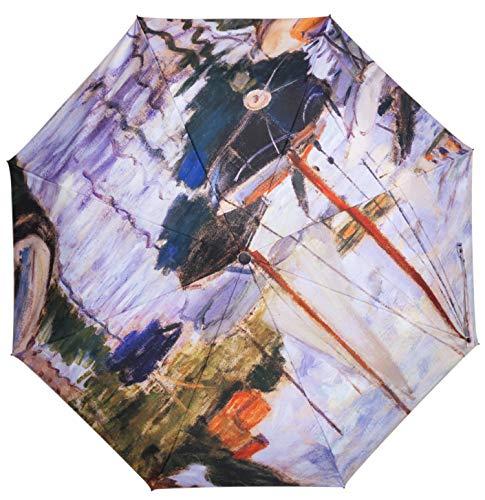 Unica Compact Travel Umbrella for Women Anti-UV Sun Rain Umbrellas 3D Print Sailing boats by Senna River (light ()