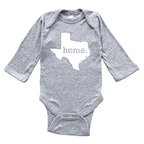 Homeland Tees Texas Home Baby Bodysuit 6 Months Grey Long Sleeve