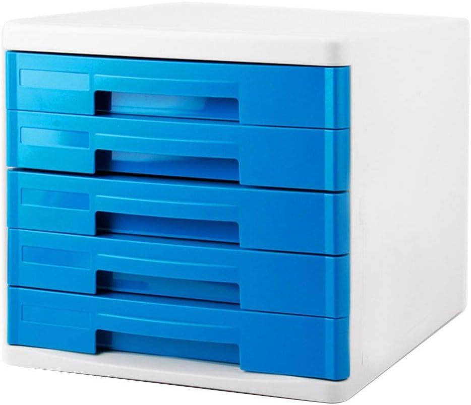 Cajonera para Almacenamiento de Escritorio Archivador de Oficina de 5 cajones de plástico Gris Azul -26.7 * 33.7 * 24.5cm Caja de Almacenamiento