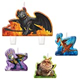 Amscan How To Train Your Dragon Birthday Party Molded Candle Set Cake Decoration (4 Pack), Assorted Size, Multicolor