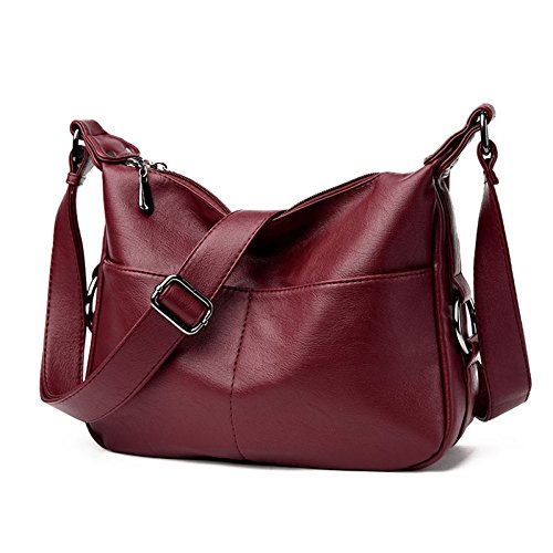 Messenger For Soft Shoulder Large Capacity Retro Crossbody Leather Women's Bag Casual Red Bag Ladies x0XqBZEnwA