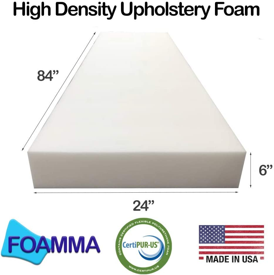 """Seat Replacement, Upholstery 5/"""" x 24/"""" x 24/"""" New Density Upholstery Foam Cushion"""