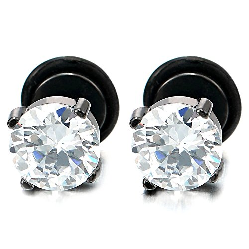 9MM Mens Women Black Stud Earrings with White Cubic Zirconia Stainless Steel Screw Back, 1 Pair (Zirconia Steel Screw Cubic)