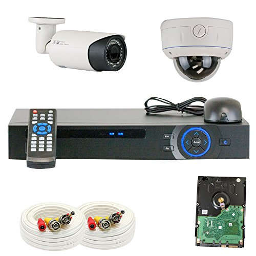 "Professional 4 Channel HDCVI DVR Security Camera System with 2 x 1/2.8"" 2.0 Mega pixels HDCVI SONY CMOS CCTV Security Camera, 2.8~12mm Manual Varifocal Lens. One is 42PCS Infrared LED, 98 feet IR distance and one is 30PCS Infrared LED, 65 feet IR distance"