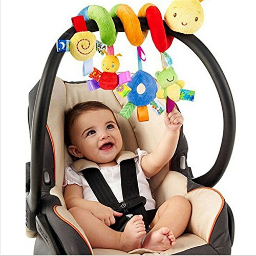 Myhouse Colorful Insects Baby Plush Hanging Toys Baby Spiral Activity Hanging Toys Stroller Toy