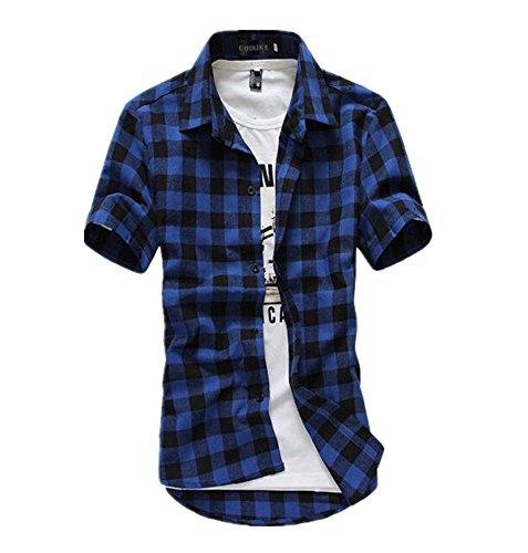 LINGMIN Men's Slim Fit Button Down T-Shirt - Short Sleeve Plaid Top Shirts Stylish Basic Cotton Shirt
