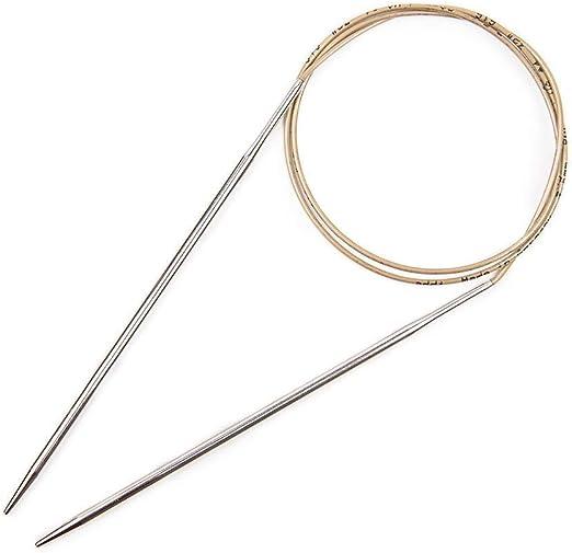 Gold Cord Smooth White Brass Tips Addi Circular Knitting Needle 120cm x 2.25mm