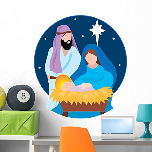 Wallmonkeys Nativity Scene Wall Decal Peel and Stick Holiday Graphics (36 in H x 32 in W) WM288826 -