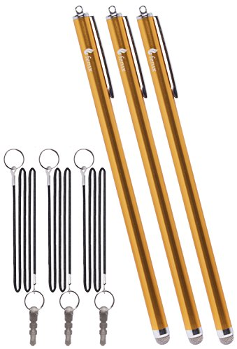 Fenix - Set of 3 Gold XXL Extra Long Stylus Pen [7.3] with Micro Knit Hybrid Fiber Tip and Includes 15 Elastic Lanyard for iPhone 4,5,5c,6,6+ - iPad,iPad Air,iPad Mini, - Samsung Galaxy S4,S5,S6,Edg