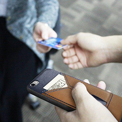 Funda Carcasa Billetera para iPhone 6 Plus/ 6S Plus,Wallet Case Cover Cuero Conveniente Comunicación Tarjeta de Crédito Ranura Teléfono Caso - Negro