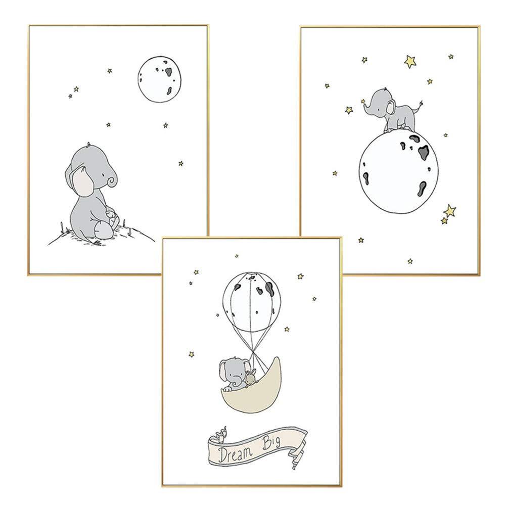 Elefant,20 x 30 cm Martin Kench 3er Set Poster Kinderzimmer Bilder Deko Poster Tiere Wandbilder Waldtiere ohne Bilderrahmen Kinderposter f/ür Junge M/ädchen Babyzimmer