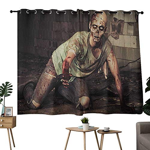 (Blackout Curtain Panels Window Draperies Zombie,Halloween Scary Dead Man in the Old Building with Bloody Head Nightmare Theme, Grey Mint Peach,Insulating Room Darkening Blackout Drapes)
