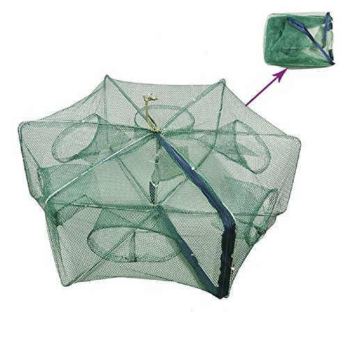 Portable Folded Fishing Net Fish Shrimp Minnow Crayfish Crab Baits Cast Mesh Trap Automatic, Easy Use Hexagon 6 Hole Cage Crab Fish Minnow Crawdad Shrimp (Foldable 2550cm)