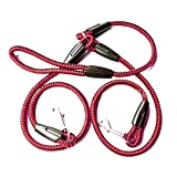 Double Dog Leash - Leeaw Hand Free Double Dog Leash Rope Coupler Two Way Braid Nylon Pet Dogs Walking Training Lead (S, Red)