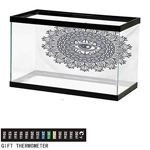 (wwwhsl Aquarium Background,Occult,Vintage Symmetrical Circular Occult Pattern Knowledge of The Hidden Third Eye Providence,Grey Fish Tank Backdrop 36