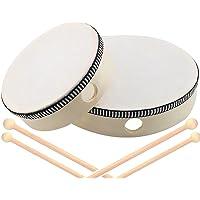 2 Piezas Tambor Pandereta, Pandereta de Percusión Infantil, Madera de Percusión, Tambores de Mano de Percusión de Madera…