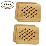 Bamboo Trivet Mat Set, Bamboo Hot Pot Holder Pads, Non-Slip Hot Pot Holder (4, Square)