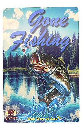 (Gone Fishing Metal Tin Sign, Vintage Plaque Poster Kitchen Home Dining Room Wall Decor (Blue) )