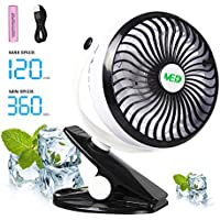 Baby Stroller Mini Battery Operated Clip Fan,Small Portable Fan Powered by Rechargeable Battery or USB Desk Personal Car Gym Workout Camping,White-Black