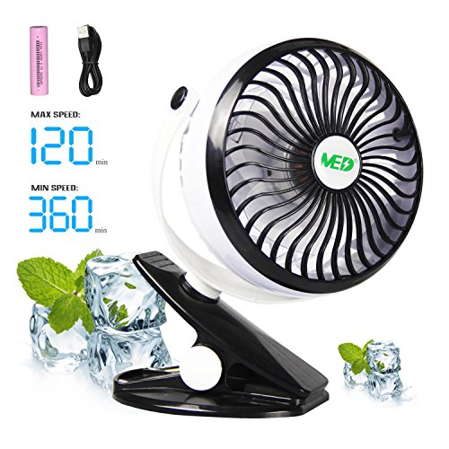 MED FAN Baby Stroller Mini Battery Operated Clip Fan,Small Portable Fan Powered by Rechargeable Battery or USB Desk Personal Car Gym Workout Camping,White-Black by MED FAN