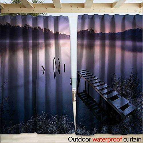 warmfamily Seascape Blackout Curtain Misty Lake Pier Forest (Lighted Pier Right)
