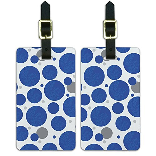 Luggage Suitcase Carry-On ID Tags Set of 2 - Pattern Prints A-K - Floral Motif Blue