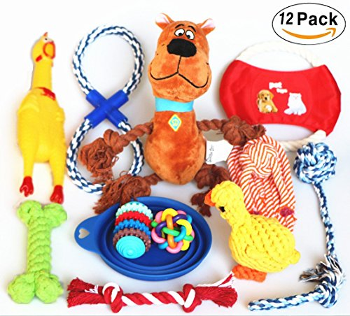 Dog Plush Toys Full Set 12 Pack Ball Rope Chew Pet Toy For Medium To Small Puppy Jomilly