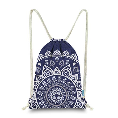 Miomao Drawstring Backpack Gym Sack Pack Mandala Style String Bag With Pocket Canvas Sinch Sack Sport Cinch Pack Christmas Gift Bags Beach Rucksack 13 X 18 Inches Navy Blue for $<!--$14.99-->