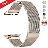 LWCUS Compatible Replacement for Apple Watch Band 38(40) 42(44)MM, Milanese Mesh Loop Stainless Steel Compatible iWatch Band with Magnetic Closure for Apple Watch Series 4 3 2 1[38(40)-Champagne Gold]