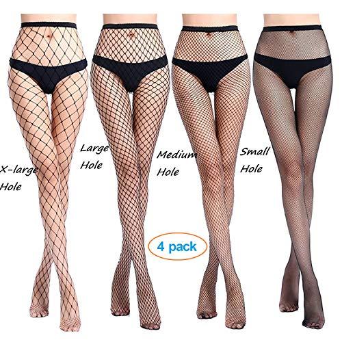 Design Fishnet (Senchanting Women Hot Chic Vintage Black Big Cross Fishnet Tights Seamless Nylon Large Mesh Stockings Pantyhose(X-Large+Large+Medium+Small Hole))