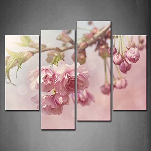 Panel Poster Cherry - First Wall Art - 4 Panel Wall Art Pink Cherry Blossom Tree On Spring Day Painting Pictures Print On Canvas Flower The Picture For Home Modern Decoration piece (Stretched By Wooden Frame,Ready To Hang)