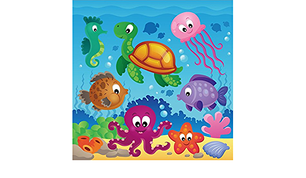 7x10 FT Octopus Vinyl Photography Backdrop,Octopus Cartoon Drawing Style Funny Characters from Ocean Underwater Life Image Background for Photo Backdrop Baby Newborn Photo Studio Props