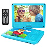 DBPOWER 9'' Portable DVD Player with Rechargeable Battery, Swivel Screen, SD Card Slot and USB Port, with 1.8M Car Charger and 1.8M Power Adaptor (Blue)