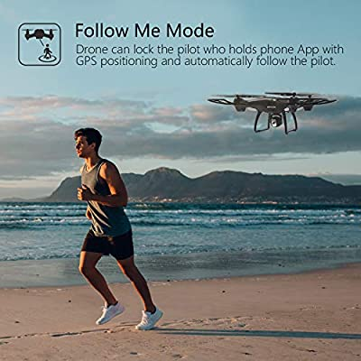 Holy Stone GPS FPV RC Drone HS100 with Camera Live Video and GPS Return Home Quadcopter with Adjustable Wide-Angle 720P HD WIFI Camera- Follow Me, Altitude Hold, Intelligent Battery Long Control Range by Holy Stone