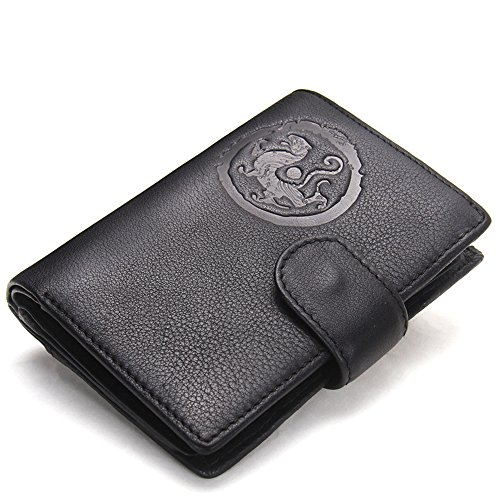 Clutch Hollow Retro Credit Wallet Leather Holders Wallet Large Vertical Zipper Pocket Capacity Short Black Holder ID Genuine Bifold Black3 Card Coin Purse HYSENM Men Cash Pockets qwAPFxvP