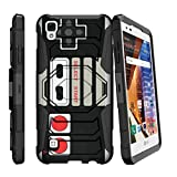 MINITURTLE Case Compatible w/ Volt 3 Hard Case, LG Tribute HD Case, XStyle Case[Armor Reloaded] Rugged Impact Protector Case + Clip Holster and Stand Heavy Duty Game Controller Retro