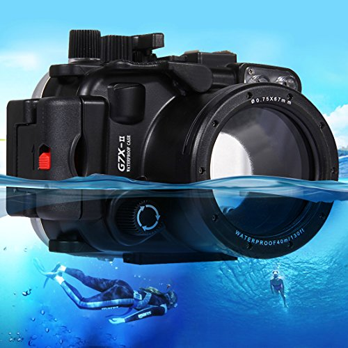 PULUZ 40m Underwater Depth Diving Case Waterproof Camera Housing for Canon G7 X Mark II by PULUZ